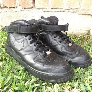 Mens All Black High Top Nike Air Forces